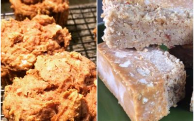 Pumpkin Spice Banana Muffins + Almond Peanut Butter Coconut Bars