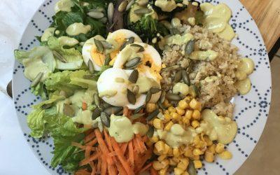 Sunshine Salad with Garlic Avocado Tahini Sauce
